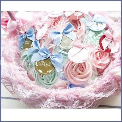 獨家【「精巧單包裝」玫瑰糖霜餅X50份+大提籃X1個】-婚禮小物/生日分享/candybar/情人節活動禮贈品/幸福朵朵
