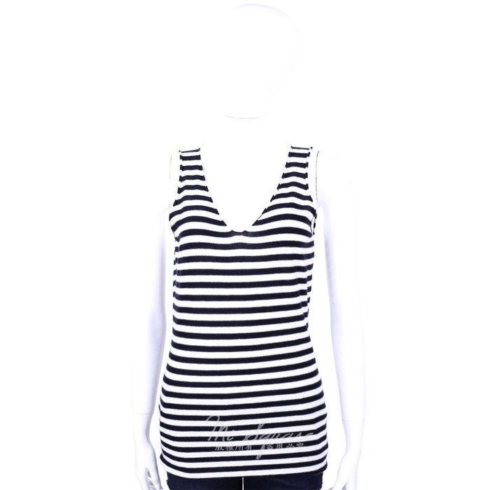 米蘭廣場 ALLUDE 40%CASHMERE V領條紋無袖針織上衣(深藍X白) 1440543-77
