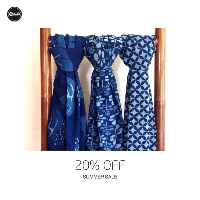[U'NIDO]原創手作 天然藍染印花100%純棉圍巾-三色/ 涼爽舒適/ 中性設計/ 適合情侶/ 暖心禮物