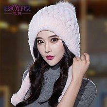 獺兔毛帽子女皮草編織女款加厚保暖護耳韓版冬季休閑甜美包頭帽