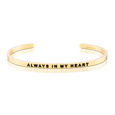 MANTRABAND 美國悄悄話手環 Always in my heart  金色手環