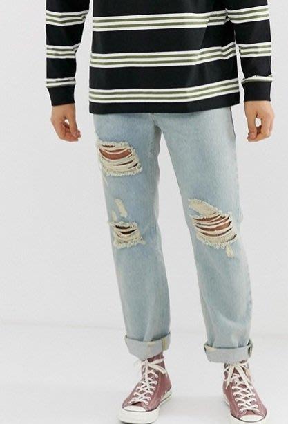 ◎美國代買◎ASOS淺藍刷色刷破設計寛鬆褲管剪裁復古仿舊英倫頹廢風淺藍刷破寛鬆九分牛仔褲~歐美街風~大尺碼~