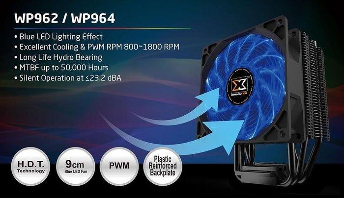 小白的生活工場*Xigmatek WINDPOWER WP964 黑化炫藍光風扇CPU散熱器