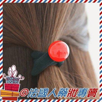 售完@法國人 韓版 韓系 簡約紅珠造型 黑色彈力髮圈 髮飾 髮束