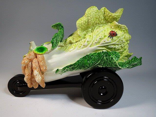 【 金王記拍寶網 】 早期 吉祥花生瓢蟲大白菜 擺件 罕見稀少 一件