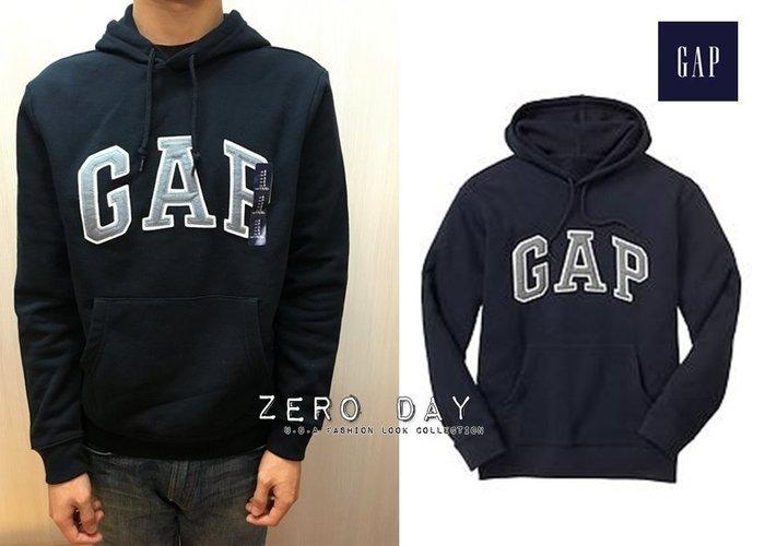 【零時差美國時尚網】GAP專櫃真品Factory arch logo hoodie立體貼布字母高質感刷毛連帽TEE-深藍
