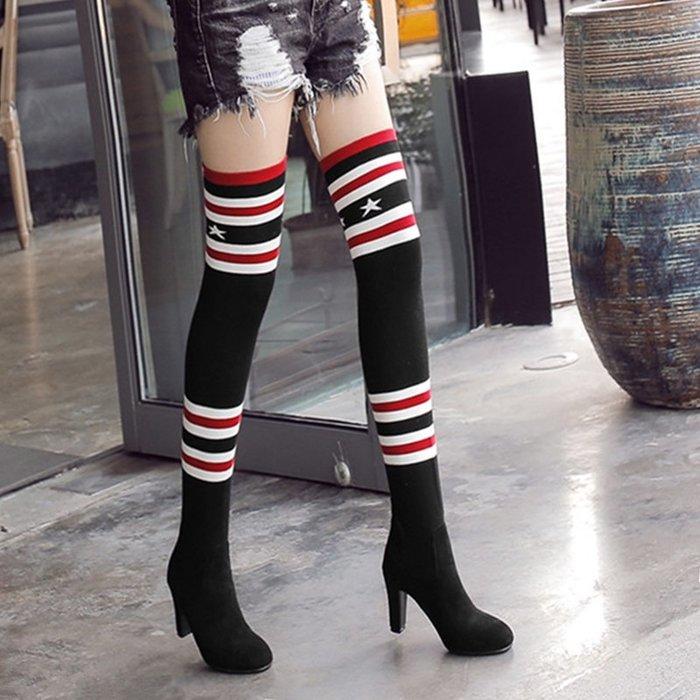~Linda~襪靴女粗跟高跟靴子過膝蓋長筒靴顯瘦針織毛線彈力靴秋冬單靴大碼