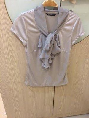 小花別針、百貨專櫃日系品牌【NICE CLAUP】氣質綁帶蝴蝶結上衣