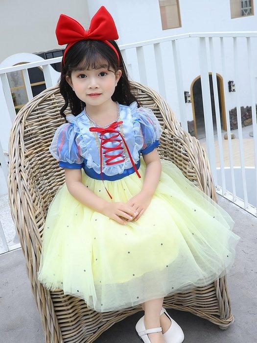 •*~ 辣媽咪衣飾小舖 ~*•❤童裝系列❤K060227韓版兒童夏款甜美小女孩白雪公主禮服網紗洋裝