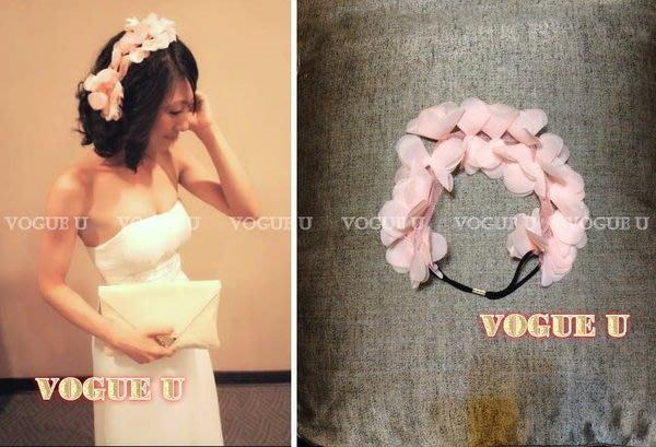VOGUE U☆仙女系多層次雪紡花瓣網紗髮圈 髮帶 髮箍 新娘 伴娘 花童髮飾(特價) 【O0156X】