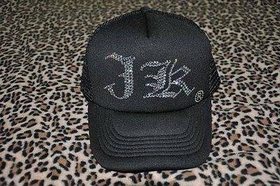 CON LONG 施華洛世奇水晶燙鑽手工訂做流行網帽(J K)客人訂做價$1700