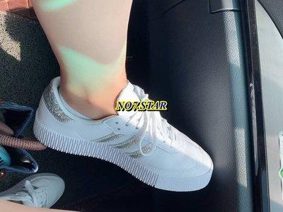 20S ADIDAS SAMBA ROSE 厚底 增高 全白 白銀 銀標 亮片 皮革 休閒 運動 女鞋 FX3819