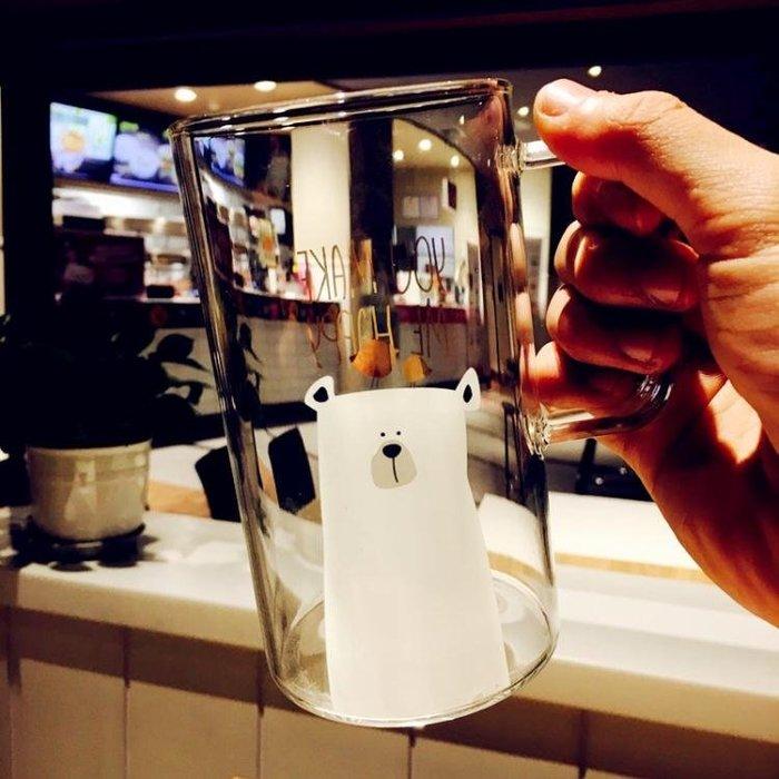 創意玻璃馬克杯簡約情侶玻璃杯大容量清新辦公杯可愛耐熱水杯子夏