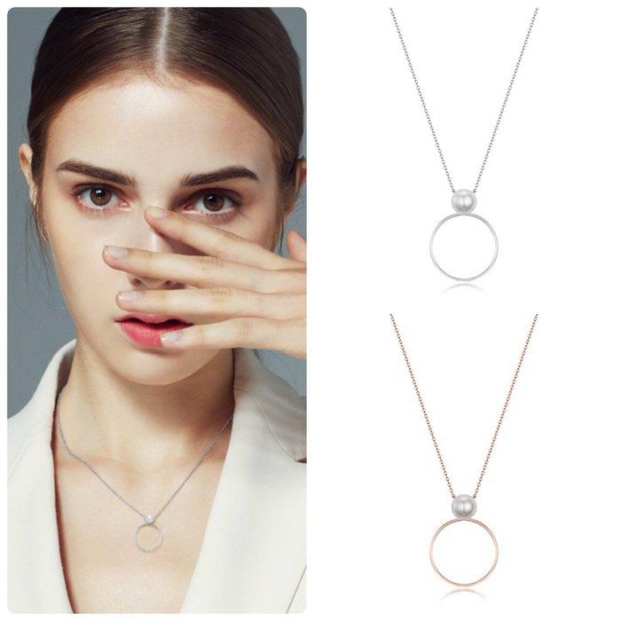 【韓Lin連線代購】韓國 HAESOO.L 海秀兒 - YUN3899 925銀 設計師款環扣造型鑲珍珠項鍊