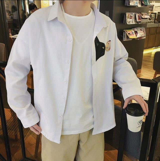 春裝新品長袖襯衫男士港風寬鬆簡約情侶男女百搭學生襯衣潮流