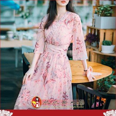 【水水女人國】~優雅浪漫中國風~輕盈柔美。復古原創印花時尚改良式和風甜美兩件套大擺裙長旗袍洋裝