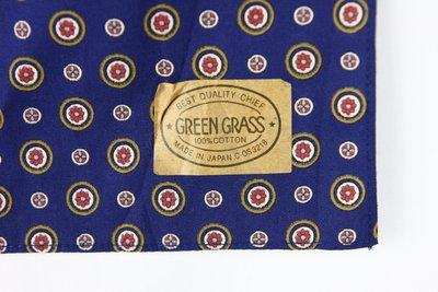 古物箱~霹靂膠囊】GREEN GRASS日本製 100%綿 超古著系 古典 普普風 頂級領巾 手帕 (老品 二手 古著)