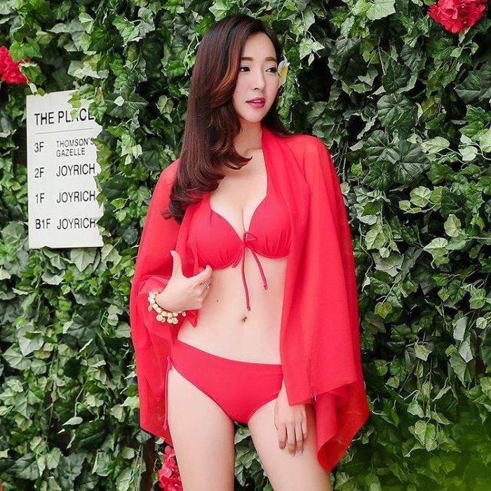 泳衣女比基尼三件套 性感小胸聚攏鋼托 裙式三角遮肚韓國海邊泳裝全館免運