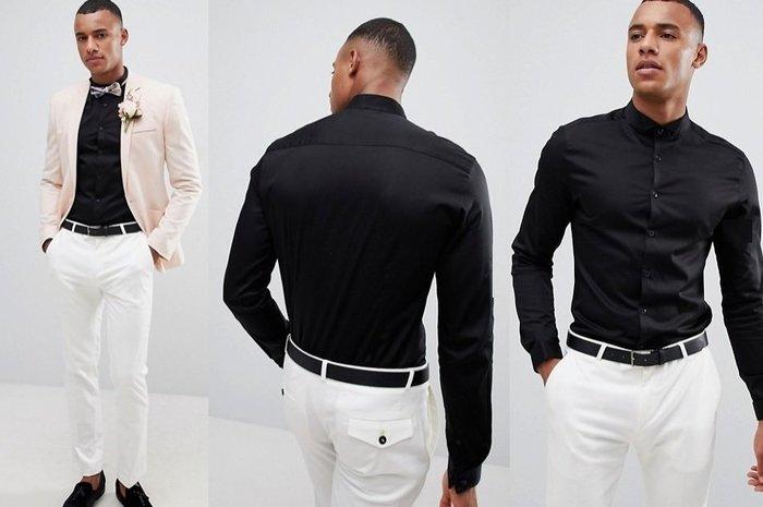 ◎美國代買◎ASOS古典英倫貴族紳士領黑色排扣緞面光澤合身顯廋剪裁紳士領黑排扣黑色長袖襯衫上衣~歐美街風~大尺碼