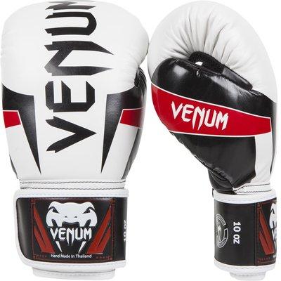 [古川小夫] VENUM Elite 菁英拳擊手套~拳擊 泰拳 MMA格鬥專用 0985 白 拳套 - 10oz