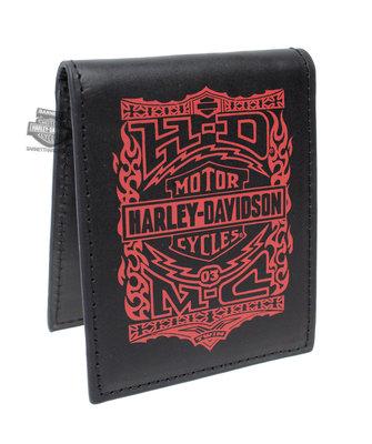 Harley-Davidson 哈雷機車 Crossfire Trademark B&S 黑色皮夾 真正皮革 美國購入