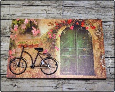 立體無框畫 綠色大門腳踏車街道花草房子...