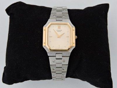 二手真品 SEIKO CREDOR 貴朵 薄型 14K金表圈 精鋼方形頂級石英女錶