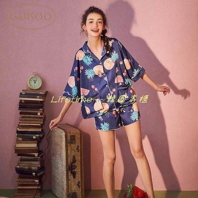 Lifetime~~韓國專櫃Gukoo/果殼正版Hello Kitty睡衣女春夏甜美可愛卡通家居服套裝夏
