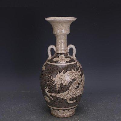 【三顧茅廬 】宋代磁州窯白地黑彩雕刻龍紋雙系瓶 出土文物古瓷器手工古玩收藏