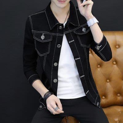 [C.M.平價精品館]2XL現貨/帥氣顯瘦修身有型黑色牛仔夾克