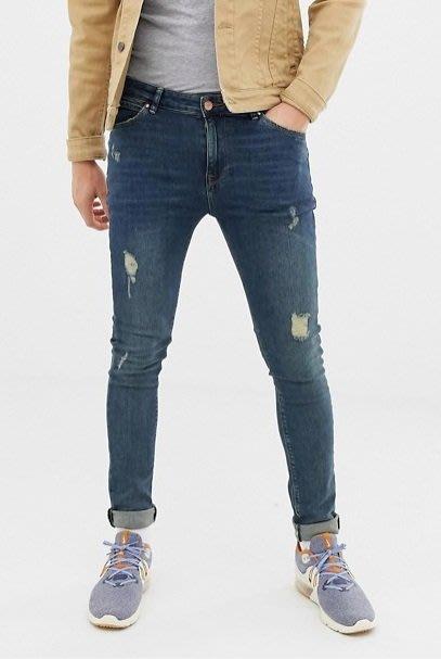 ◎美國代買◎ASOS微刷破波紋刷色復古仿舊藍色微刷破合身牛仔褲~歐美街風~大尺碼~