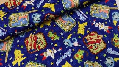豬豬日本拼布 限量版權卡通布 寶可夢 神奇寶貝 皮卡丘 深藍色 牛津布厚棉布料材質