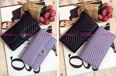 韓國百搭真皮羊皮山形紋轉釦實用款長夾~黑色 紫色