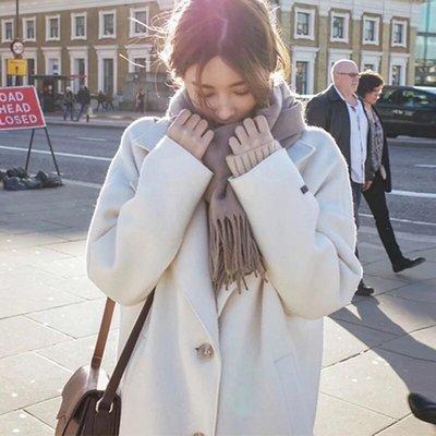 (限時特價)韓版時尚女裝百搭毛呢大衣長...