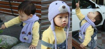 媽咪家【R003】R3毛線3件組 毛線圍巾 毛線手套 毛線帽 毛線 編織 立體動物 保暖 3件組~現貨A藍兔