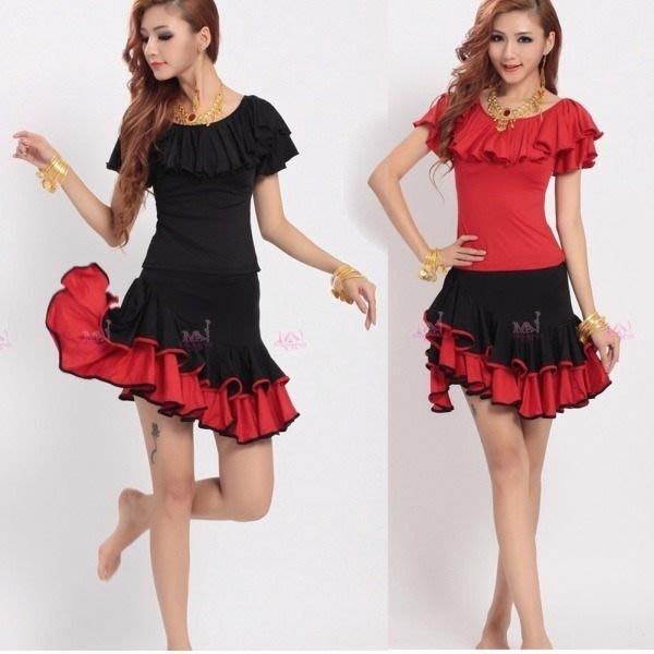 5Cgo【鴿樓】43553113604 魅莎成人女式拉丁舞衣荷葉舞裙 舞蹈服裝廣場舞服裝裙 雙色二件式