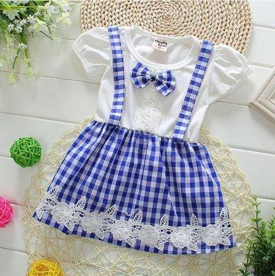 Q朵米-可愛學院風蝴蝶結領 格子洋裝 寶寶洋裝 上衣 嬰兒服 吊帶裙