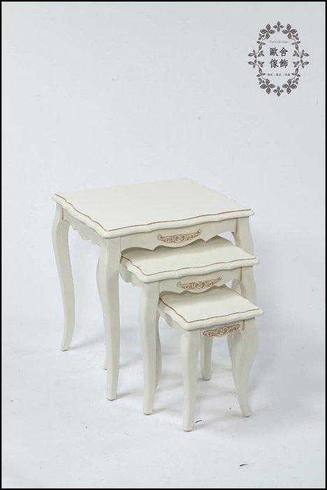 法式鄉村風 復古白色3入一套茶几桌 雙色花架三件套邊桌咖啡桌輔助桌電話桌床邊桌展示陳列架床頭架【歐舍家飾】