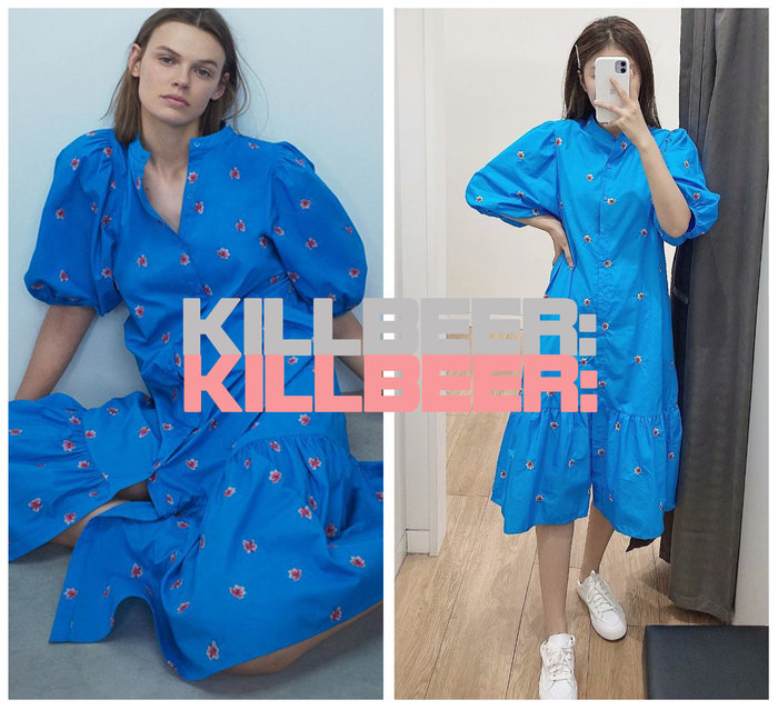 KillBeer:貪心女孩的新風格之 歐美復古優雅靛藍中國風旗袍感排扣泡泡袖立體小花刺繡連身裙長洋裝A072902