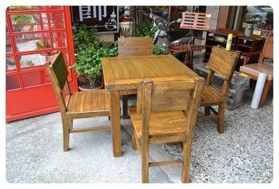 仿古懷舊風 實木餐桌 古木方型泡茶桌椅...