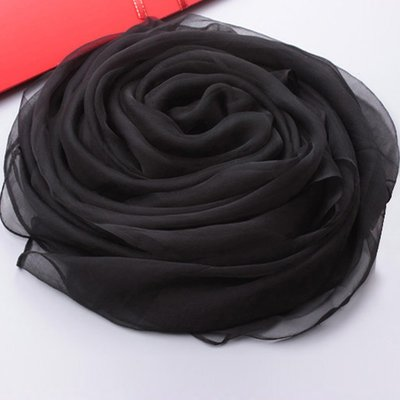 新款上市桑蠶絲真絲圍巾春秋季女百搭裸色純色長款絲巾公司拍照年會紅圍巾