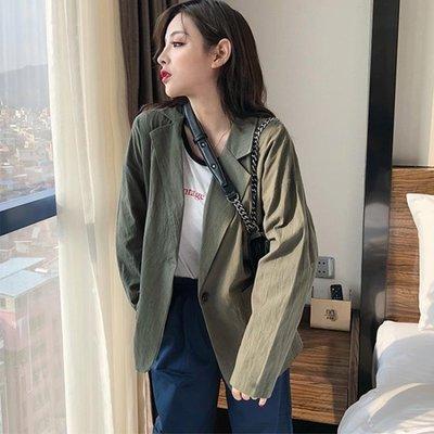 店長嚴選2019新款韓版chic時尚氣質小西裝服女復古寬鬆休閒純色西裝外套女
