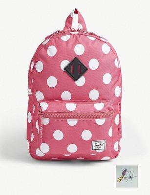 當日寄出[現貨] 英國代購 加拿大HERSCHEL SUPPLY CO 青年圓點帆布後背包 粉色 可放13吋筆電