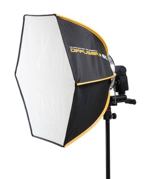 呈現攝影-韓國 SMDV Diffuser-60 專業快收六角柔光罩 60*60 外閃型專用 無影罩 碳纖骨 外拍燈