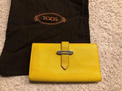 義大利精品 Tod's 類似愛馬仕款 H二折長夾 多卡夾層 招財黃色錢包