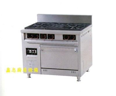 鑫忠廚房設備-餐飲設備:二主ㄧ副西餐爐烤箱,賣場有工作檯-咖啡機-快速爐