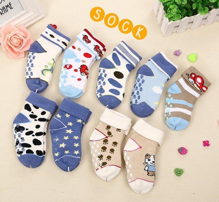 襪子【FSC009】高級寶寶足跡圖樣童襪(3雙一組)(3尺碼任選)有大童尺寸穿到12歲 兒童氣墊襪 純棉-收納女王