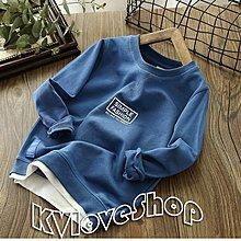 KVLOVE SHOP〥外單 時尚印花假兩件設計四色兒童長袖T 4色〥特價