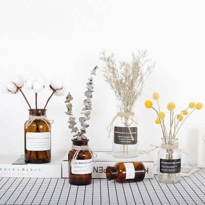 【蘑菇小隊】4件套 ins風透明玻璃花瓶北歐客廳家居裝飾品擺件-MG34479