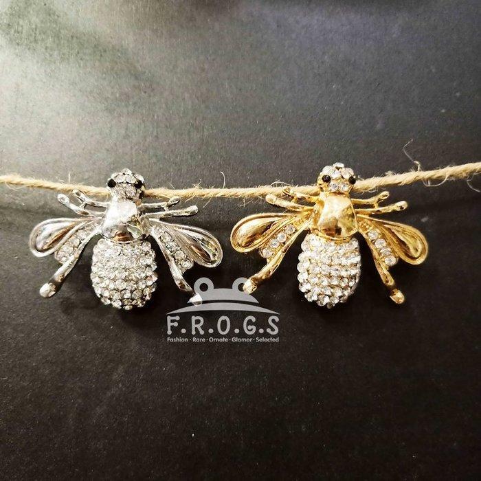 F.R.O.G.S CJ1006歐美日韓大牌不敗水鑽蜜蜂造型插針金屬胸針別針胸花絲巾釦衣領針飾品(現+預)